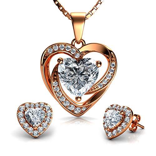 DEPHINI - Juego de collar y pendientes de corazón de rosa – Plata de ley 925 chapada en oro – Pendientes y colgante de cristal CZ – Cadena de plata chapada en rodio de 45,72 cm