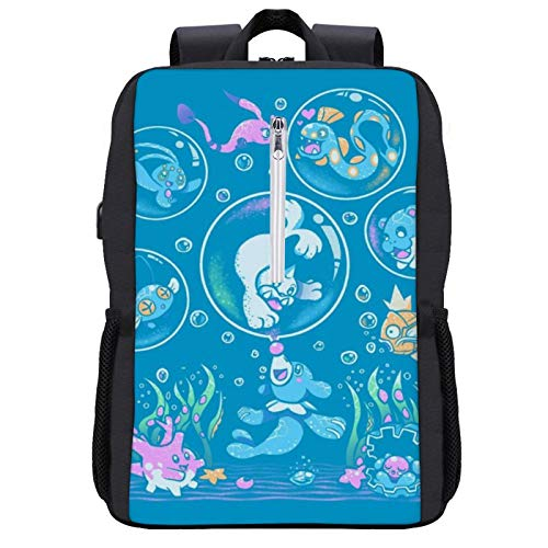 Monster of The Pocket Popplio Bubble Popp Travel Backpack Laptop Backpack with USB Port Backpack Suitable for 15.6-inch Laptop Backpack