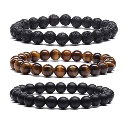 MengPa Mens Lava Rock Bracelet for Women Aromatherapy Anxiety Essential Oil Diffuser Volcanic Stone Bead Couples Bangle (Elastic-Black Lava& Tiger Eye&Matte G4258ABC)
