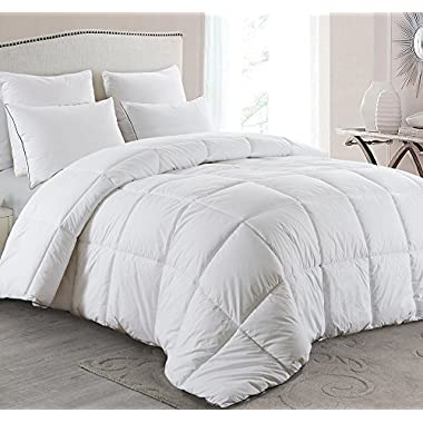 Basic Beyond All-Season Goose Down Comforter (King) - Warm Down Duvet Insert - Baffle Box, Soft Key Print Cotton Shell, Hypoallergenic, 100% Plush Goose Down Fill for Bed Comforter