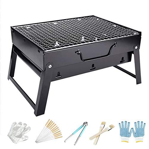 SHANG Tragbare Camping Grill, Außen Folding Mini-Bügeleisen BBQ Holzkohle-Grill mit Grill-Tools für Reisen Picknick Rv Hinterhof,M