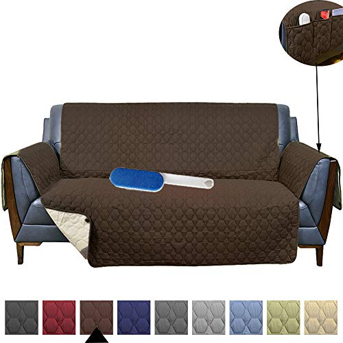 RBSC Home 78 Inch Sofa Cover 100% Waterproof Anti-Slip Couch Cover for Leather Oversized Sofa Slipcover for Pets,Baby Dogs Cats Washable Protector Plus 1 Brush