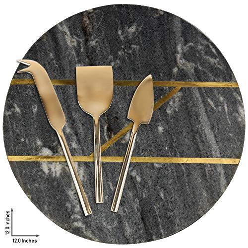 GAURI KOHLI schönes marblewith 3er-Set Messing käsemesser (größe Large | Form rund | Farbe dunkelgrau)
