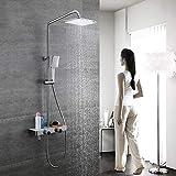 Sistema doccia Set di soffioni per doccia a pioggia quadrato, Doccia in ottone con beccuccio per vasca, Set di rubinetti per doccia a 2 funzioni, Montaggio a parete per doccia, Nichel spazzolato
