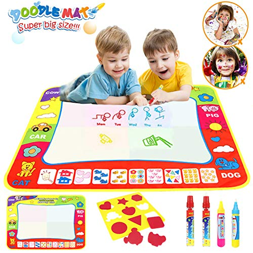 Toys for 2-10 Years Old girls Boys Water Doodle Mat for Kids 4 color Aqua Drawing Painting Mat (80 x 60cm) with 4 Magic Pens 1 Stamp Set Mess Free Learning Toys Gift for 3 4 5 6 Year Old Boys Girls