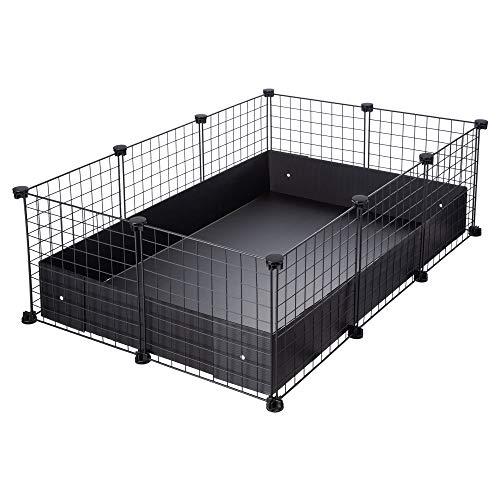 CagesCubes - Jaula CyC Medium (2X3 Paneles en Negro) + Base de Coroplast Negro para cobayas