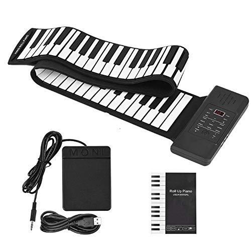 InLoveArts Klavier Tragbares elektronisches Musikinstrument Hand Roll Piano,128 exzellente Sounds, 128 Rhythmen, Dual Power, Unterstützung für elektronische Klaviertastatur, MIDI und Bluetooth