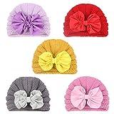 Golden Apple 5 unids bebé tejer grandes sombreros de arco invierno cálido bebé niñas niño pequeño turbante Cap bebé cabeza Beanie Cap