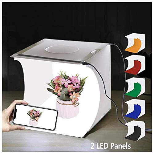 20Cm Mini Studio Photo Pliable Boîte À Lumière De Photographie Super Lumineuse, Tente Portative Légère De Tir avec 6 Fonds De Couleurs Et 2 Panneaux LED