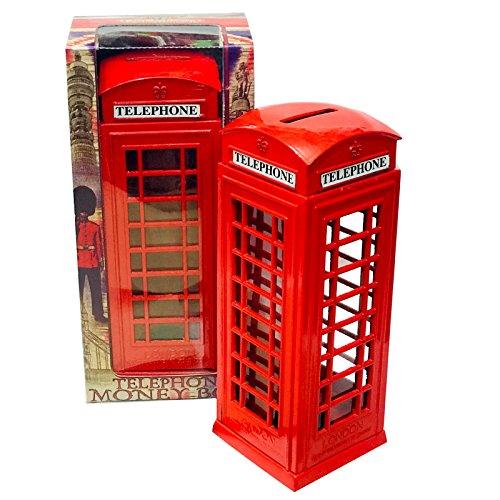 KAV - Bote de Repuesto para Monedas, diseño de Cabina de teléfono, Color Rojo, tamaño Grande, Hierro Fundido, 8 x 5,5 x 14 cm