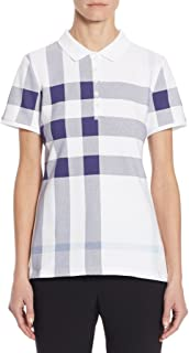 Women's ISNA Check Print Stretch Cotton Polo Shirt in Pale Blue