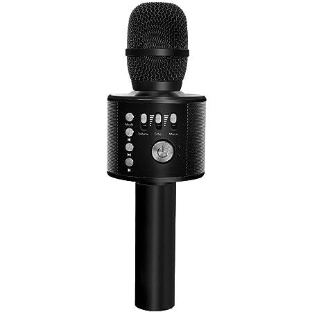 Verkstar Bluetooth カラオケマイク ポータブルスピーカー 高音質カラオケ機器 Bluetoothで簡単に接続 無線マイク 一人でカラオケ イヤフォンジャック付き Android/iPhoneに対応(ブラック)