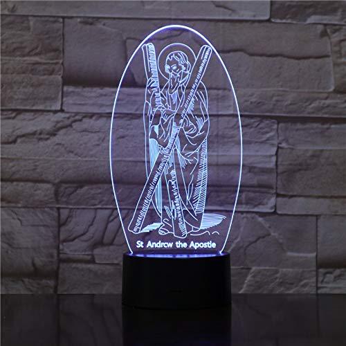 3D Lámpara Cruz De Jesus Led Luz De La Noche Lámpara De Dormir 7 Cam