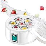 QQO Fabricante De Yogur, 1.5L Automática Fabricante De Yogur con 7 Tarros Herramienta De Bricolaje Yogurtera Eléctrica Electrodomésticos Yogur 15W De Cocina De Acero Inoxidable Liner