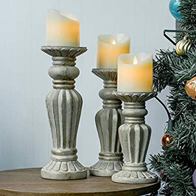 "SUNFACE Pillar Candle Holders Set of 3-7.9"",9.8"",11.6"" Country Style Table Decorations for Living Room by SUNFACE"