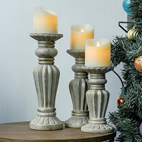 "SUNFACE Pillar Candle Holders Set of 3-7.9"",9.8"",11.6"" Country Style Table Decorations for Living Room"