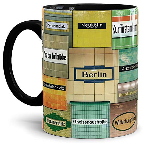 Tassendruck Berlin-Tasse U-Bahn Mix Innen & Henkel Schwarz - von Tom Bäcker - U-Bahn/U-Bahnhöfe/Souvenir aus der Hauptstadt/Becher/Kaffeetasse/Mug/Cup - Qualität Made in Germany