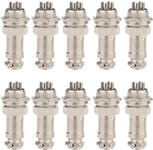 Clyxgs GX16 4 Pins Panel Metallmontage Rund Metall Aviation Stecker Adapter Männlich Weiblich Steckdose (10 Stücke)