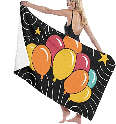Piscina de Microfibra Toalla de Playa Globo de Feliz cumpleaños Toalla de baño de Secado rápido Toallas de Surf Estera de Yoga
