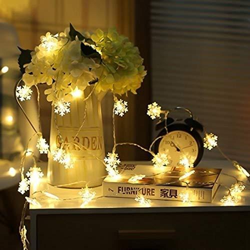 Stringa LED di LED Decorazione albero di Natale Fiocco di neve Matrimonio all'aperto Stringa luminosa per il giorno di Natale Batteria 2m10 LED