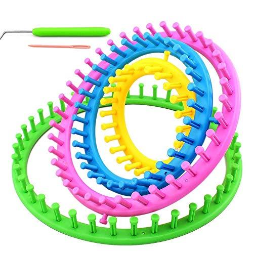Jannyshop Runde Strickring Set Strickrahmen Craft Kit Werkzeug DIY Werkzeug mit Häkelnadeln für Hut Schal Schal Decken Stricker