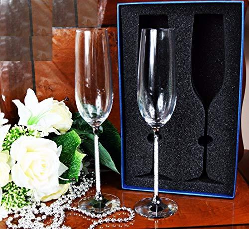 Waarde voor geld paar van champagne glas kristal gesneden Swarovski element bruiloft cadeau & geschenkdoos