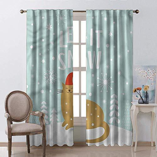 Polyester gordijn voor woonkamer 2 panelen, Kerstmis traditionele slinger ontwerpen met bloemen sokken en ballen maretak Candy staaf Pocket venster gordijnen