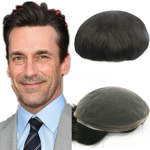 NLW European human hair toupee for men with SOFT Super fine Swiss lace 10x8' Straight hair pieces replacement system for men #2 Dark brown