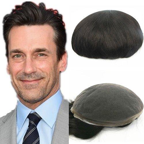 N.L.W. European virgin human hair toupee for men with SOFT THIN Super Swiss lace 10x8' Straight hair pieces for men #2 Dark brown