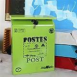 TuToy Gran Vintage Metal Mail Box Hierro Bloqueo Postal Tarjeta Almacenamiento Contenedor Pared Buzón Colgante Con Llaves - Verde
