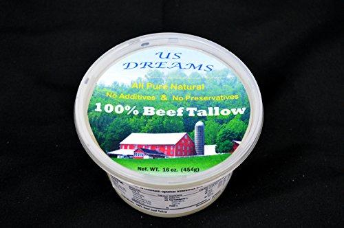 100% Grass Fed Beef Tallow 1 lb. (16 oz.) one pound