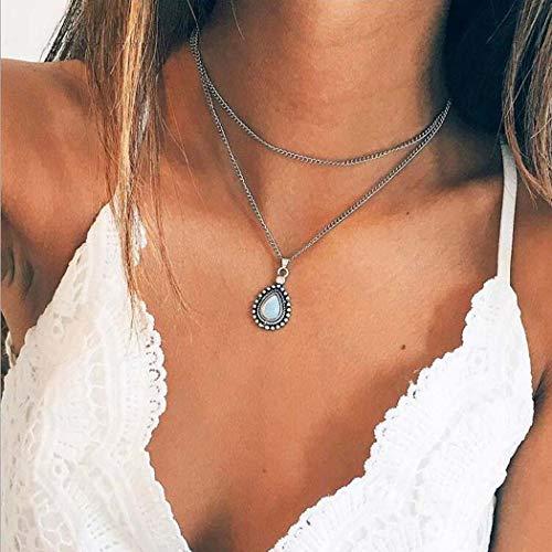 Yean Layered Halskette Wassertropfen Opal Anhänger Halsketten Choker Modeschmuck Kette für Frauen und Mädchen