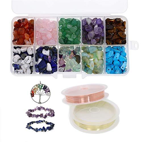 150 g de perlas de piedras preciosas en forma natural, perlas para manualidades, piedras semipreciosas, piedras curativas, perlas sueltas con 2 rollos de alambre de alambre de cobre para joyas