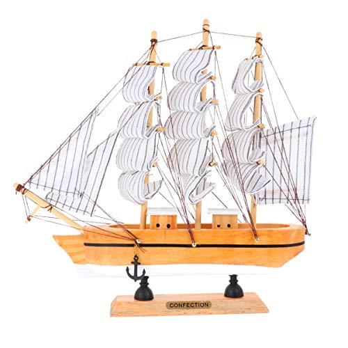 VOSAREA 24cm Holz Piratenschiff Segelboot Modell Segelschiff Maritime Deko Holzboot Holzschiff Mediterraner Stil Boot Schiff für Weihnachten Tischdeko Wohnzimmer Büro Schreibtisch Deko