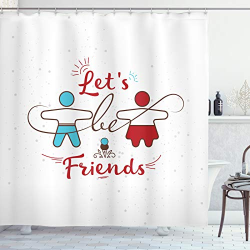 ABAKUHAUS Beste vriend Douchegordijn, Sweetest Aanbieding Buddies, stoffen badkamerdecoratieset met haakjes, 175 x 180 cm, Deep Sky Blue Vermilion