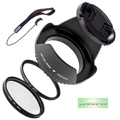 Lumos Juego de 5con 62mm parasol filtro UV CPL filtro polarizador lente Tapa y Soporte para su cámara objetivo Sigma 18–20018–250105mm 2.830mm 1.4para Canon Nikon Sony