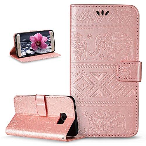 ikasus Compatible avec Coque Galaxy S7 Edge Etui,Embosser Gaufrage Éléphant tribal Housse Cuir PU Housse Etui Coque Portefeuille supporter Flip Case Etui Housse Coque pour Galaxy S7 Edge,Rose