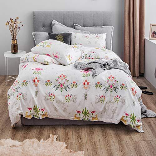 Yaonuli Tuinpapier, van puur katoen, 4-delig, klein beddengoed, bedrukt met vers katoen, met strik, lengte 1,5 m, bed (200 x 230)