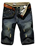KJHSDNN Shorts en Jeans Homme Casual Denim Pantalon Court Jeans Bermuda