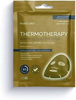 BeautyPro THERMOTHERAPY Warming Gold Foil Sheet Mask With Hyaluronic Acid & Q10, Thermal Foil Mask, Restoring & Moisturising, 20 Minute, 25ml Single Use Mask