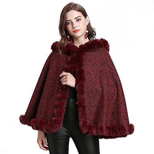 Deniferymakeup Fashion Sweater Poncho Cape Coat Faux Fox Bont met Cap Collar Poncho sjaal Vrouwen Sjaal Wikkel Cape Open Voordeken Sjaals en Wraps