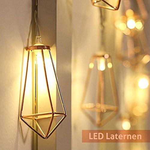 Lichterkette rosegold geometrisch Laterne LED Lampe Vintage-Look batteriebetrieben warmweiß Retro-Design kupfer für Zimmer- und Innendekoration