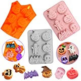 SENHAI - Stampo per torta in silicone per Halloween, 3 pezzi, motivo: zucca, per biscotti fai da te, cioccolatini, caramelle, gelatine, cubetti di ghiaccio