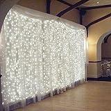 Luces de Cortina LED, OMGAI 300 LEDs, 36V 6W, 3m x 3m Luz de Cortina Con 8 Modos para Navidad, Año Nuevo, Fiesta, Boda, Decoración del Hogar, Blanco
