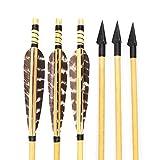 Huntingdoor Archery Wooden Arrows Turkey Feathers Fletchings for Traditional Recurve Longbow Hunting Target Shooting Arrows 150 Grain Broadhead 6Pcs