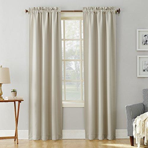 "Sun Zero Easton Blackout Rod Pocket Curtain Panel, 40"" x 63"", Pearl"