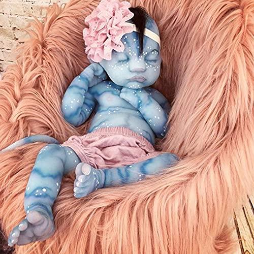 YXX 50Cm Muñeca Renacimiento 20Inch Silicona Recien Nacidos Hecho A Mano Boy Silicona Vinilo Baratas Dormir Toddler Magnetismo Juguetes,Azul,50cm
