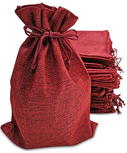 50 Red Burlap Bags with Drawstring, 7x10 Inch Gift Bag Bulk Pack for Mugs, Mason Jars, Wedding Party Favors, Jewelry and Treat Pouches