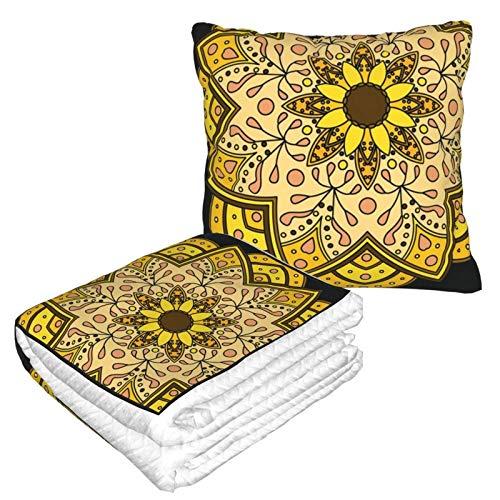 Manta de almohada de terciopelo suave 2 en 1 con bolsa suave Mandala Funda de almohada para casa, avión, coche, viajes, películas