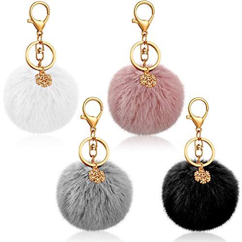 4 Stück 7,6 cm Pom Pom Schlüsselanhänger Kunstfell Pompon Ball Schlüsselanhänger mit Schneeflocke Charms for Bags Keys Car Accessories